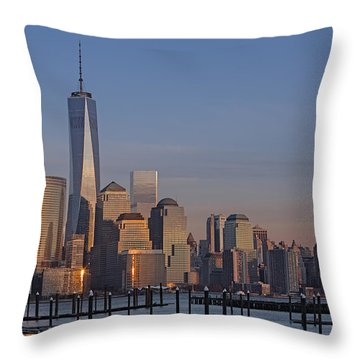 Lower Manhattan Skyline Throw Pillow by Susan Candelario