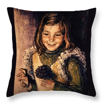 Throw Pillow featuring the painting Luisa Fernanda by Walter Casaravilla