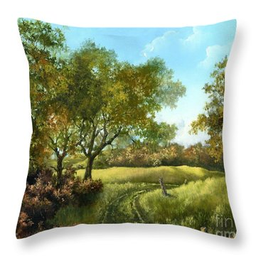 Throw Pillow featuring the painting Luray Pasture by Lynne Wright