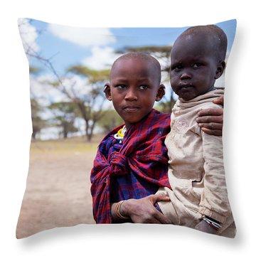 Maasai Children Portrait In Tanzania Throw Pillow by Michal Bednarek