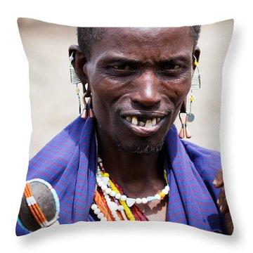 Maasai Man Portrait In Tanzania Throw Pillow by Michal Bednarek