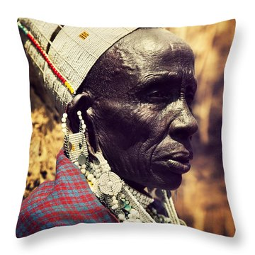 Maasai Old Woman Portrait In Tanzania Throw Pillow by Michal Bednarek