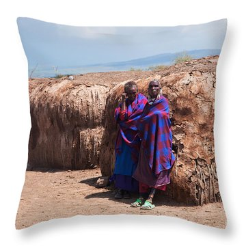 Maasai People In Their Village In Tanzania Throw Pillow by Michal Bednarek