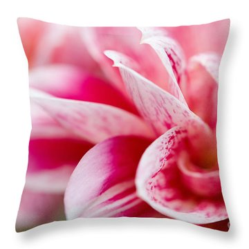 Macro Image Of A Pink Flower Throw Pillow by Nick  Biemans