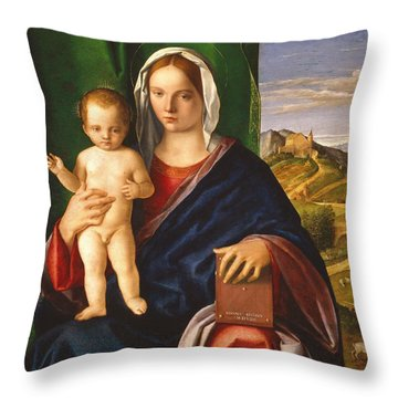 Madonna And Child Throw Pillow by Giovanni Bellini