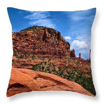 Madonna And Child Two Nuns Rock Formations Sedona Arizona Throw Pillow by Amy Cicconi
