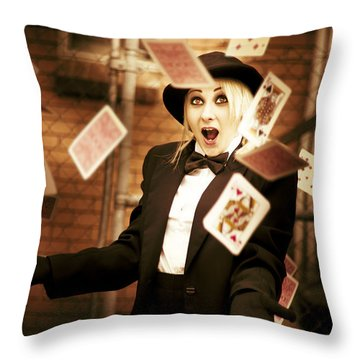 Magic Cards Trick Throw Pillow