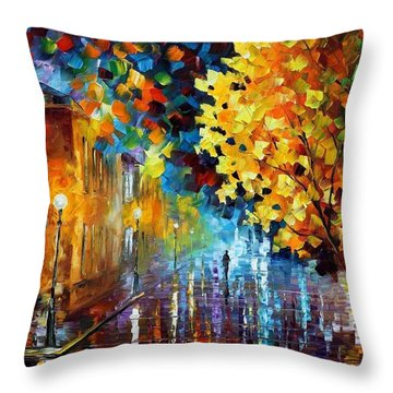 Magic Rain Throw Pillow by Leonid Afremov