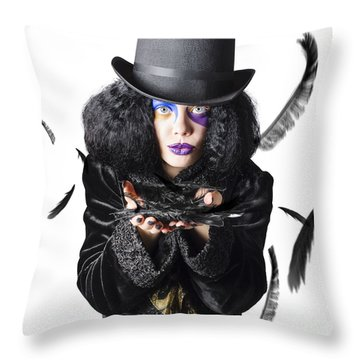 Magician Blowing Feathers Throw Pillow