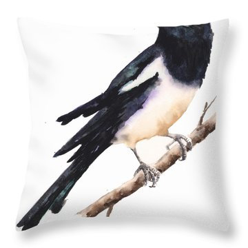 Magpie Painting Throw Pillow