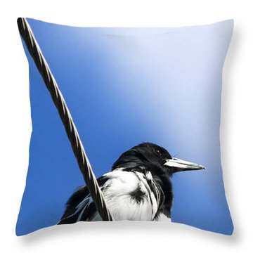 Magpie Up High Throw Pillow