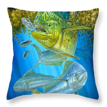 Mahi Mahi Hunting In Sargassum Throw Pillow