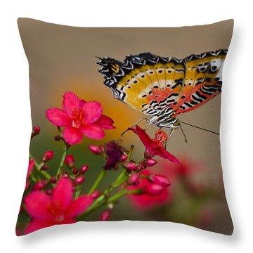 Malay Lacewing Butterfly  Throw Pillow by Saija  Lehtonen