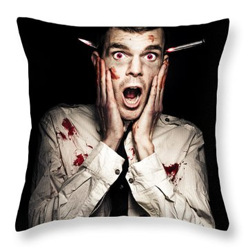 Male Zombie Businessman Displaying Shock Horror Throw Pillow