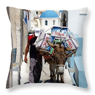 Man And His Pack Mule Throw Pillow