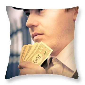 Man Holding Money Making A Financial Decision Throw Pillow