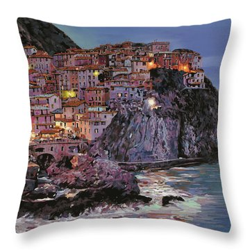 Manarola At Dusk Throw Pillow