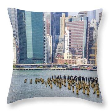 Manhattan On The East River Throw Pillow