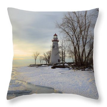 Marblehead Lighthouse Winter Sunrise Throw Pillow