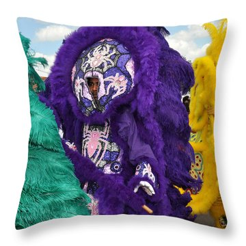 Mardi Gras Indians Throw Pillow by Diane Lent