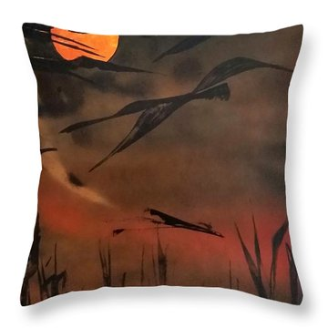 Marsh Birds Throw Pillow