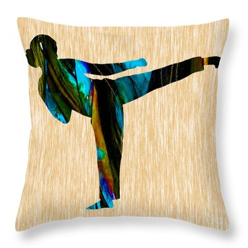 Martial Arts Karate Throw Pillow by Marvin Blaine