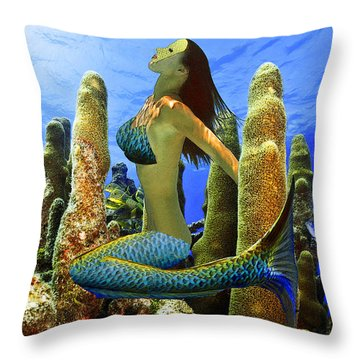 Masked Mermaid Throw Pillow