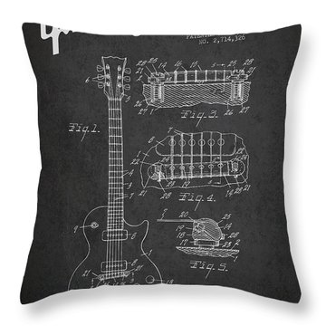 Mccarty Gibson Les Paul Guitar Patent Drawing From 1955 -  Dark Throw Pillow