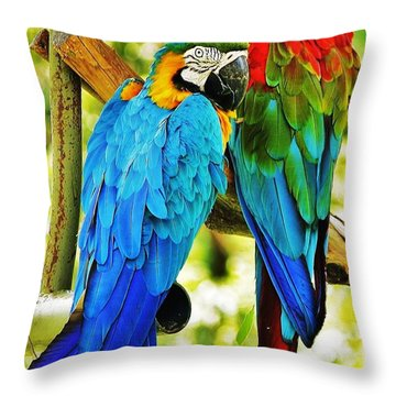 Throw Pillow featuring the photograph Macaws... by Al Fritz