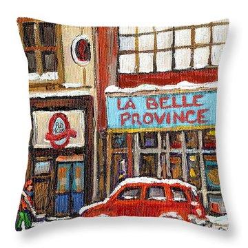 Mcleans Irish Pub Montreal Throw Pillow by Carole Spandau