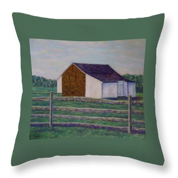 Mcphersons Barn Gettysburg Throw Pillow by Joann Renner