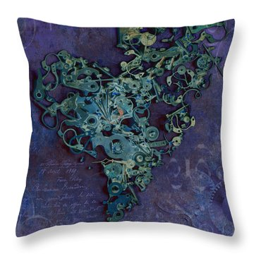 Mechanical - Heart Throw Pillow by Fran Riley