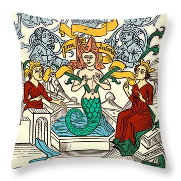 Melusine Legendary Creature Throw Pillow by Photo Researchers