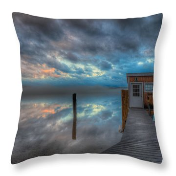 Melvin Village Marina In The Fog Throw Pillow