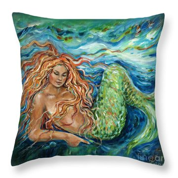 Mermaid Sleep Pillow Throw Pillow by Linda Olsen