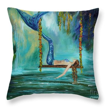 Mermaids Lazy Lagoon Throw Pillow by Leslie Allen