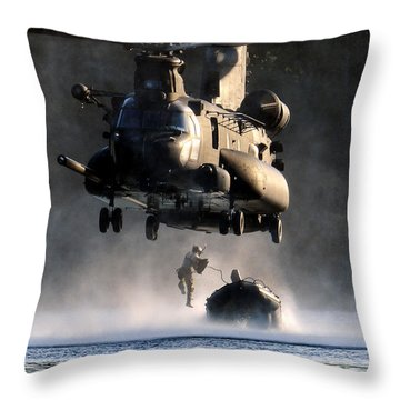 Mh-47 Chinook Helicopter Throw Pillow