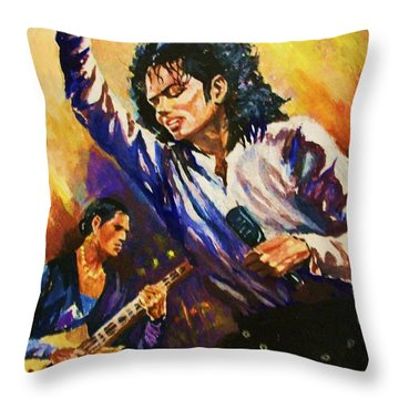 Michael Jackson In Concert Throw Pillow by Al Brown