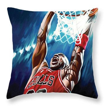 Michael Jordan Artwork Throw Pillow by Sheraz A