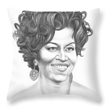 Michelle Obama Throw Pillow by Murphy Elliott
