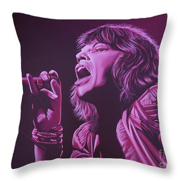 Mick Jagger 2 Throw Pillow by Paul Meijering