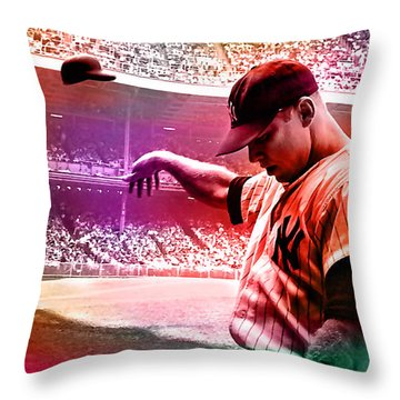 Mickey Mantle Throw Pillow by Marvin Blaine