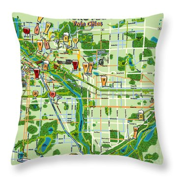 Micro Maps Twin Cities Throw Pillow