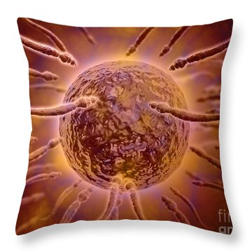 Microscopic View Of Sperm Swimming Throw Pillow by Stocktrek Images