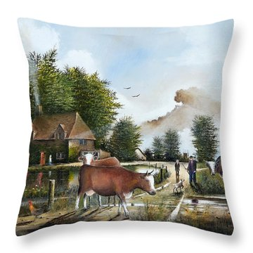 Milking Time Throw Pillow