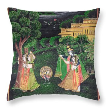 Radha Krishna Throw Pillow