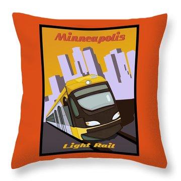 Throw Pillow featuring the painting Minneapolis Light Rail Travel Poster by Jude Labuszewski