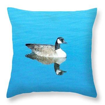 Throw Pillow featuring the photograph Mirror Goose by Kerri Mortenson