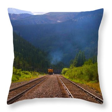 Misty Mountain Train Throw Pillow
