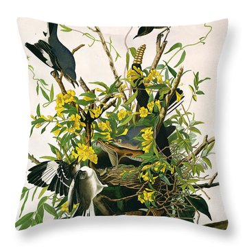 Mocking Birds And Rattlesnake Throw Pillow by John James Audubon
